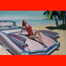 Картина девушка на розовом Кадиллаке